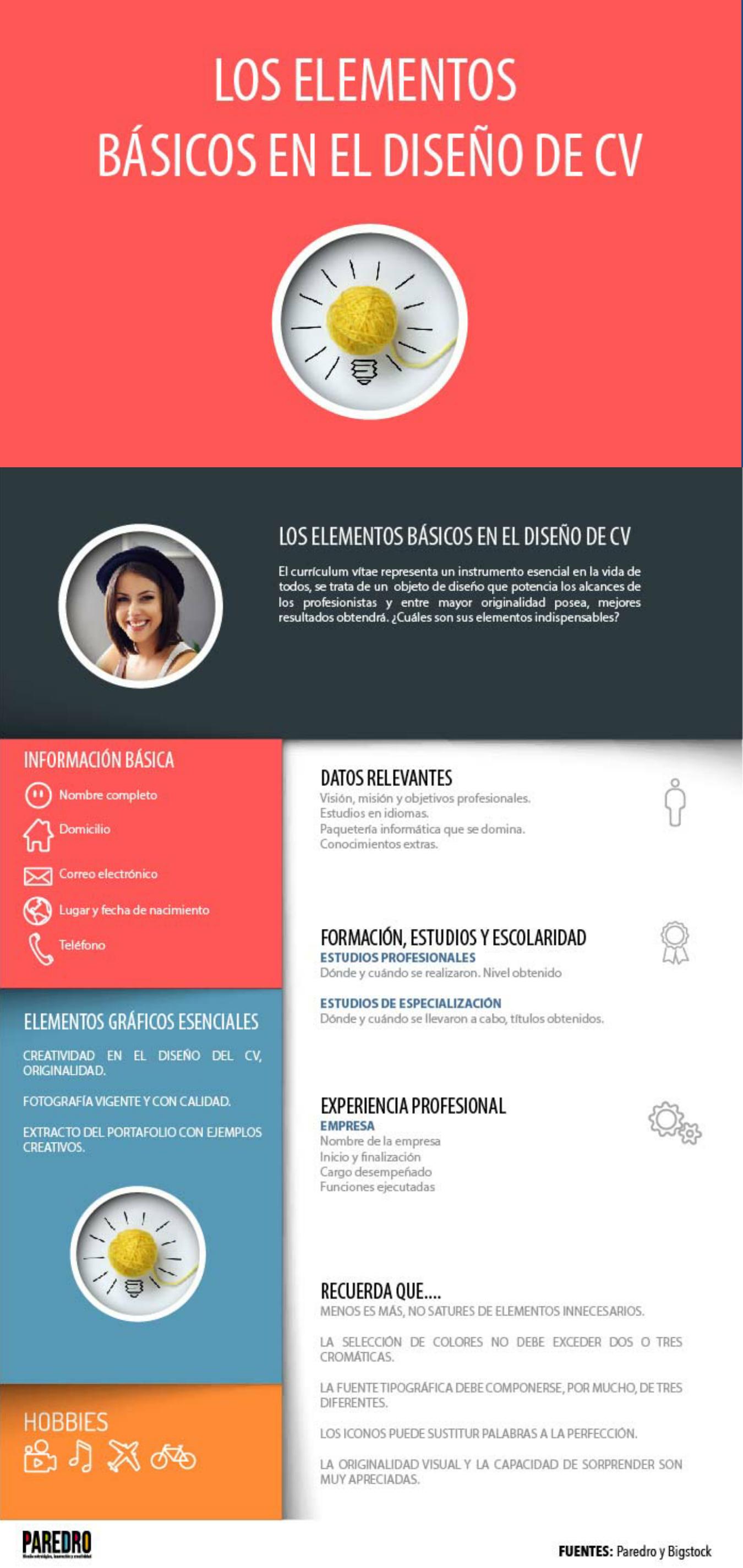 Los elementos básicos en el diseño de un Currículum #infografia ...