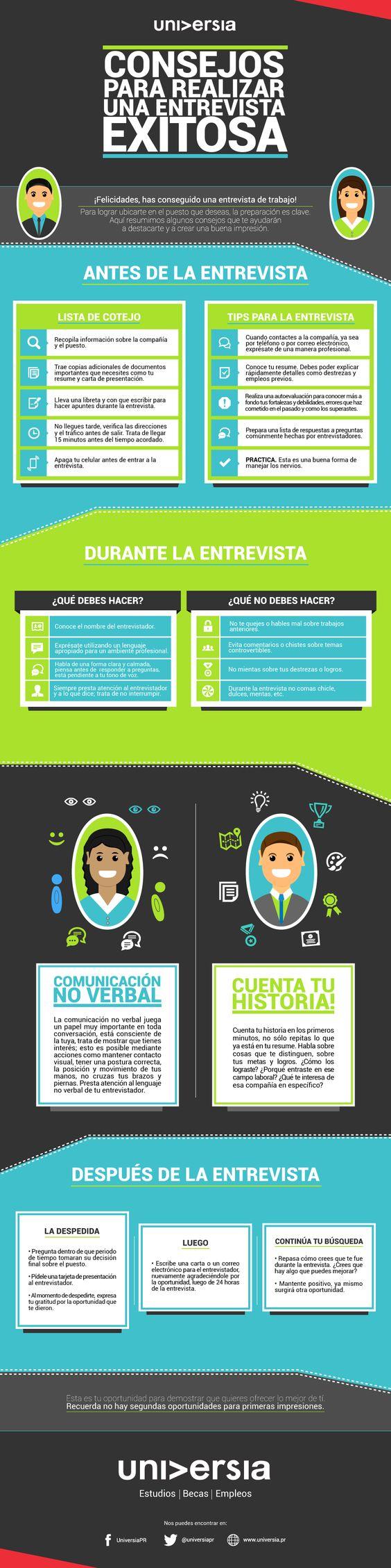 Consejos para antes, durante y déspues de una entrevista de trabajo